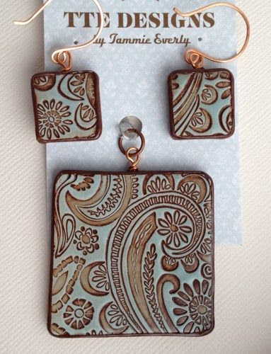 'Pretty in Paisley' Blue Gray and Chocolate Patina Polymer Clay Pendant and Earrings Set by TTE Designs on Art Fire. $22