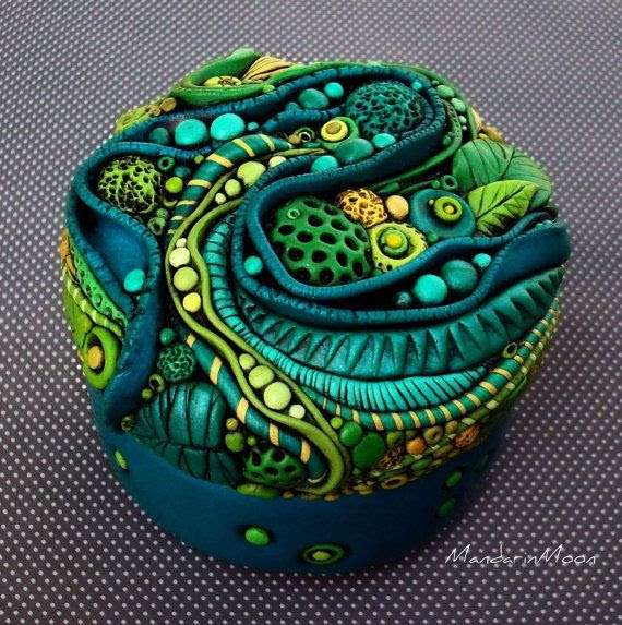 Neptunes Garden Mosaic Trinket Box Polymer Clay by MandarinMoon, $75.00