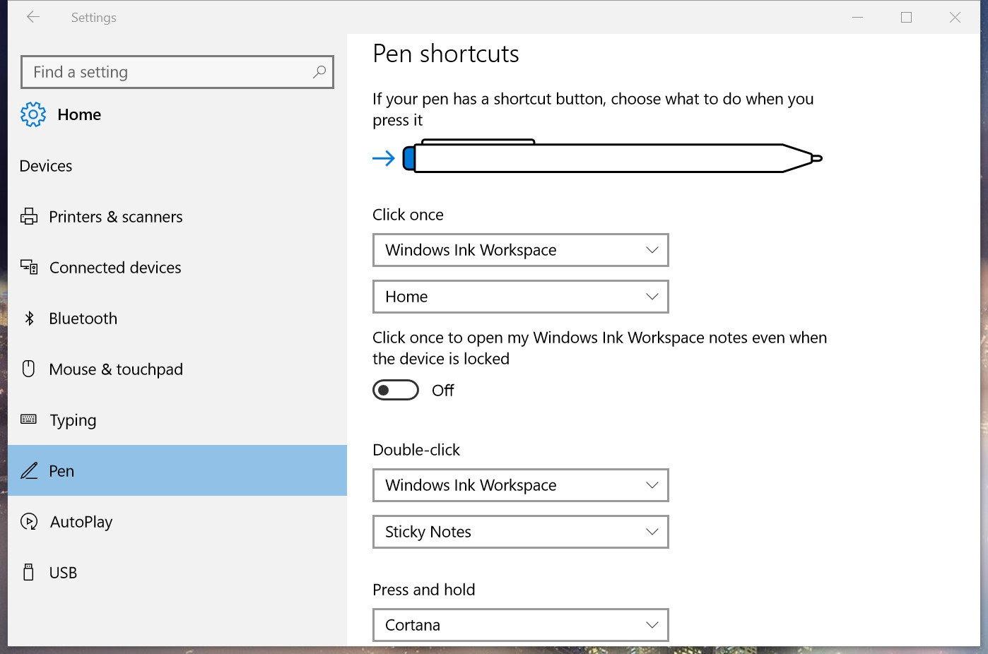 Pen Shortcuts