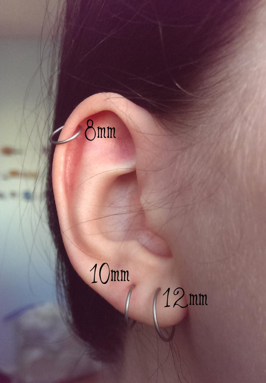Endless Hoop Earring Titanium Hoop Earrings Simple Wire Hoop
