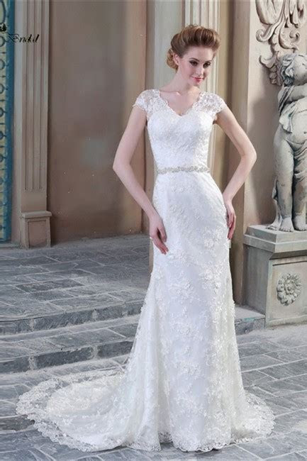 Sheath V Neck Cap Sleeve Sheer Back Lace Wedding Dress