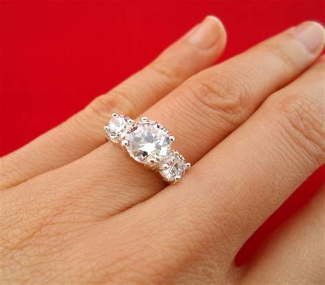 3 carat Diamond Anniversary Engagement 3 stone Ring size 7