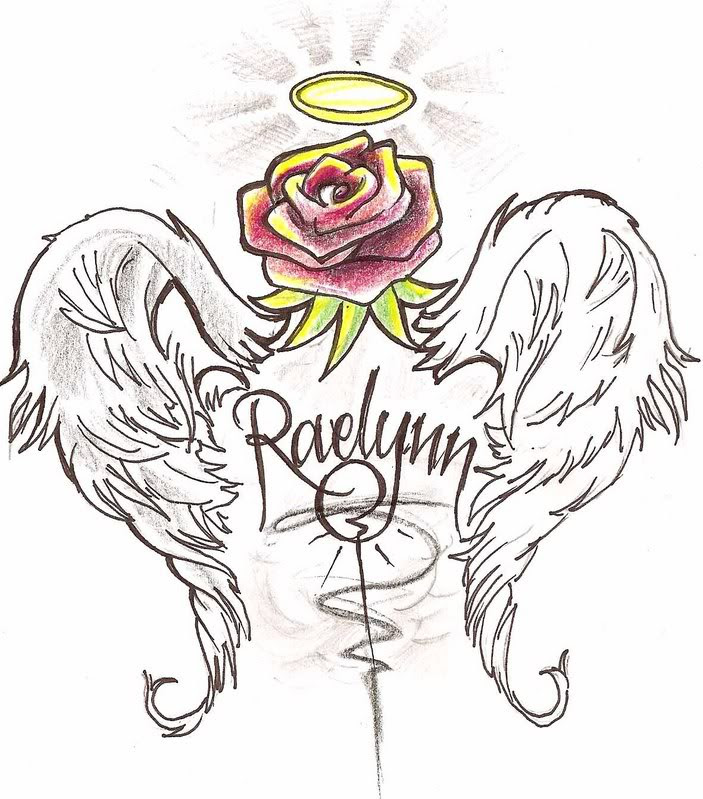 Red Rose With Angel Wings Tattoo Design