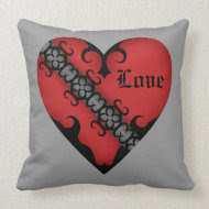 Romantic gothic medieval red heart throwpillow