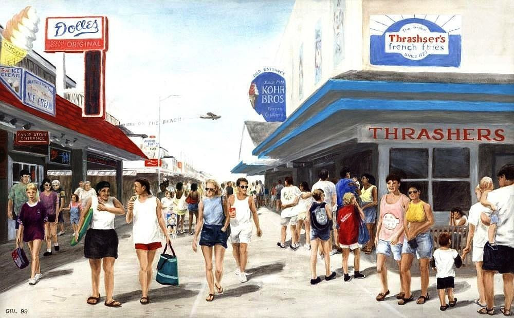 Beach/Shore I Boardwalk Ocean City MD - Original Fine Art Painting. Original multimedia fine art work, paintings. $2000, 50 x 24 inches; $20 to $30 small, medium-size, prints. Free downloads. ‬‎GrlFineArt. This was probably painted in the 1960s-70s. We used to go there with the kids, walk the walk, sit on the sand, ... Fine art work, fine art decor, ‪‎fineart; landscapes, seascapes, boats, figures.