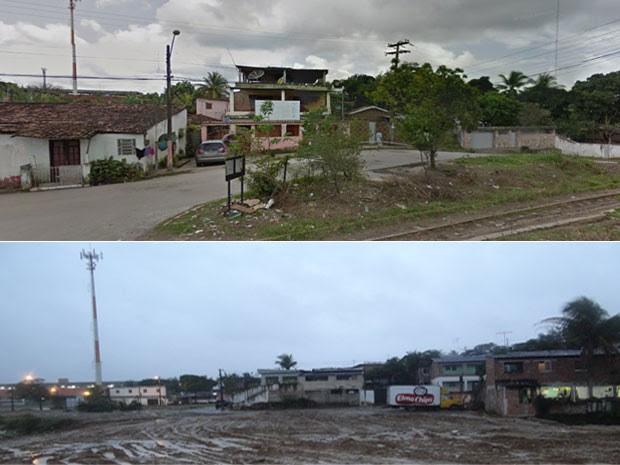 A primeiro foto, retirada do Google Maps, mostra outro trecho de Camaragibe onde ocorreram desapropriações para passagem do Ramal da Copa (Foto: Luna Markman/G1)