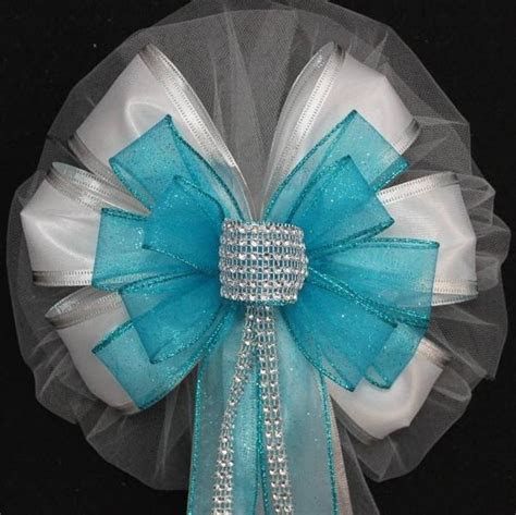 Turquoise Bling Glitter and White Wedding Pew Bows