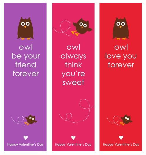 Owl Valentine's Day Bookmarks {Free Printable}