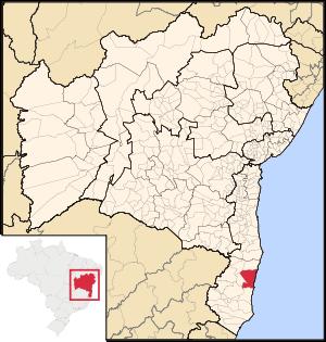 Map of Bahia highlighting Porto Seguro.