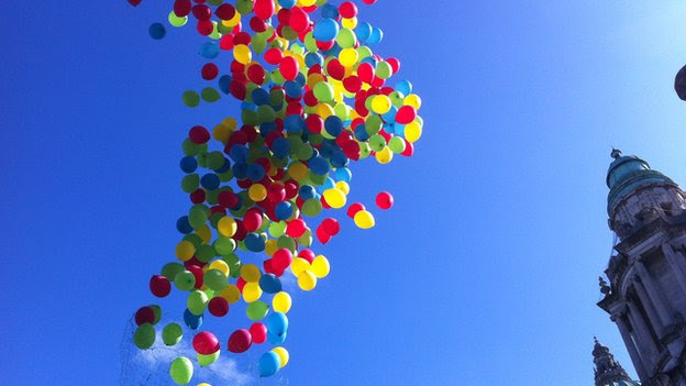 Balloons were released at Belfast City Hall during the Disability Pride Event