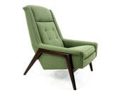 20% Off Sale - Danish Modern Lounge Chair, Green on Walnut - HousingAuthority