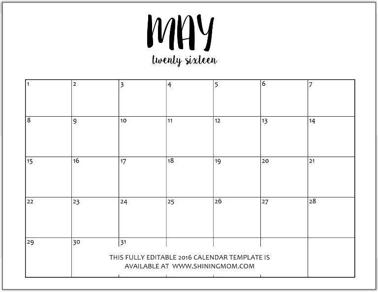 calendar 2016 editable