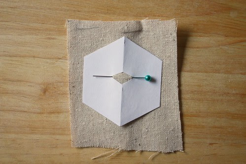 Step 7: Pin a Paper Hexagon to a Square of Fabric