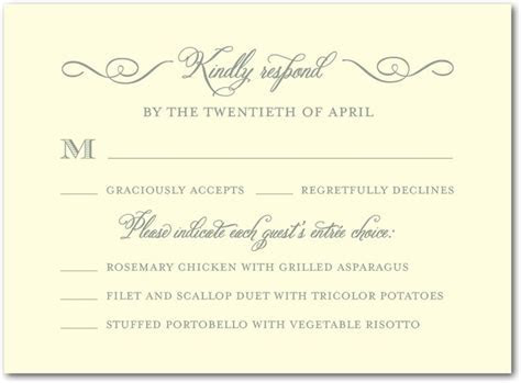Sample RSVP  with dinner choices   Wedding invites