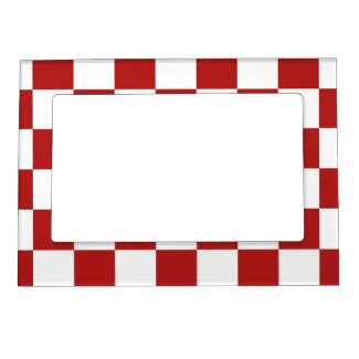 Checkered Red and White Magnetic Picture Frames
