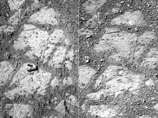 Imagem à esquerda mostra a rocha. Dias antes, na fotografia da direita, o objeto não aparecia Foto: Nasa / Divulgação