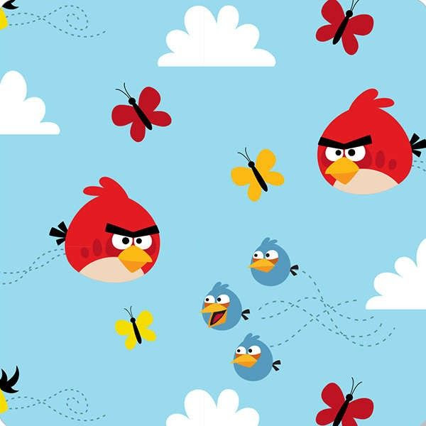 David Textiles - Blue Angry Birds Float On Flannel - cotton fabric - I'm going to make the boys pj's!!