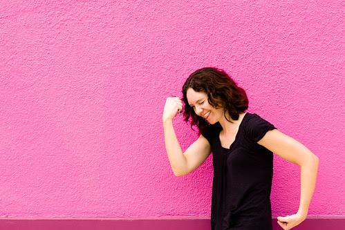 Amanda rocking out in pink