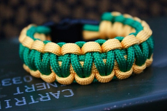 Military Paracord Zombie Survival Bracelet (TM) Green and Yellow - Custom Length- Made to order-