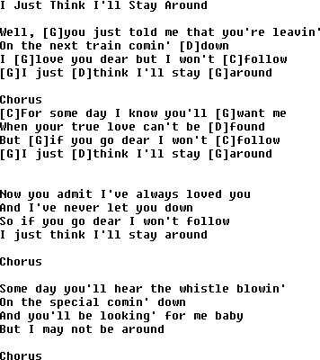 I Just Think I Ll Go Away Lyrics Chords