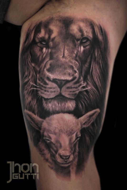 Jhon Gutti Tattoos Religious Jesus Lion And Lamb