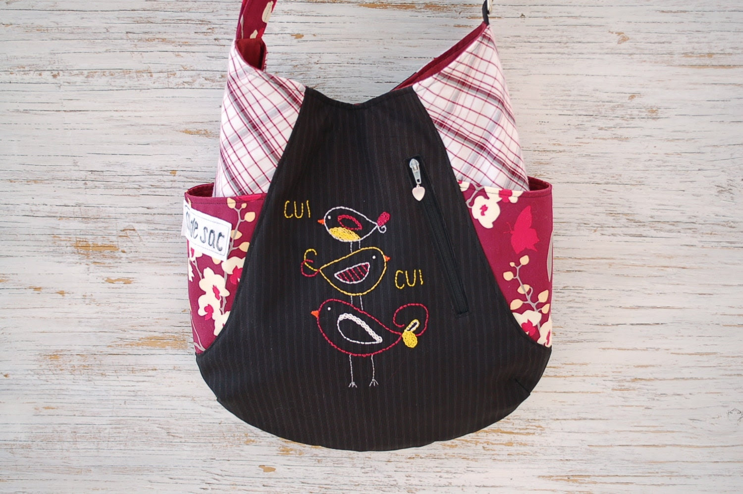 Eco-friendly 241 tote, made from upcycled materials in black and red with hand embroidery