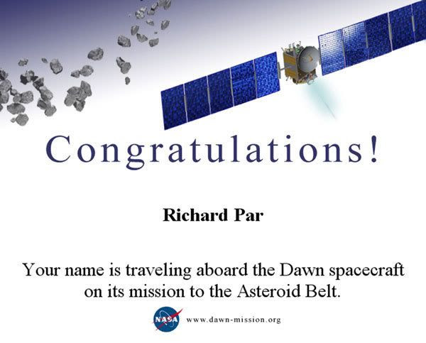 A certificate commemorating my participation in the 'Send Your Name to the Asteroid Belt' project.