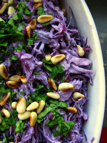 red cabbage tahini slaw