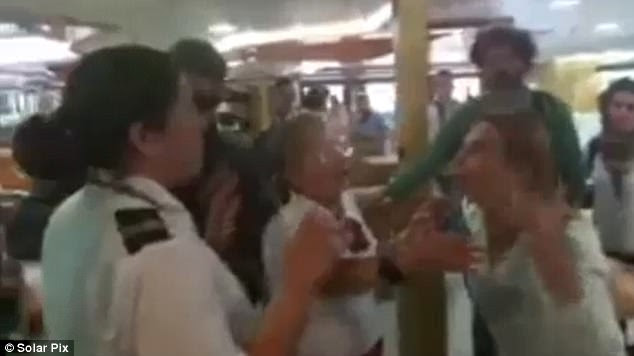 Footage taken from inside the damaged vessel after the collision - and posted on social media - showed furious passengers arguing with crew who were trying to calm them down