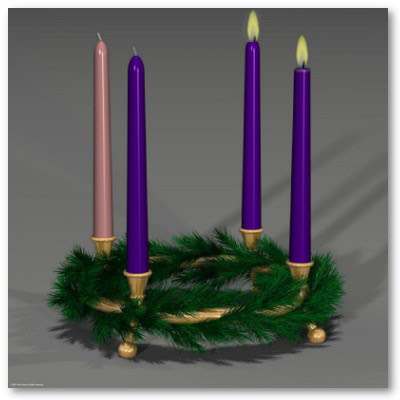 Advent Candle with Two Candles Lit