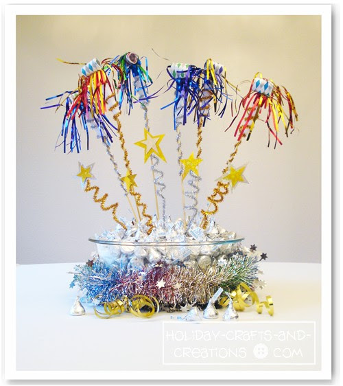 DIY Cute Noisemaker Centerpiece for your New Year´s Eve Party.