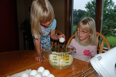 Next, crack the eggs!