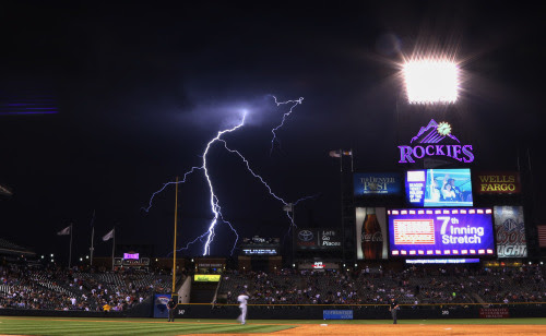 nationalpostsports:<br /><br />Lightning strikes in the background during the seventh inning of a baseball game between the Colorado Rockies and the San Diego Padres on Monday, July 7, 2014, in Denver. (Photo: Jack Dempsey/The Associated Press)<br />