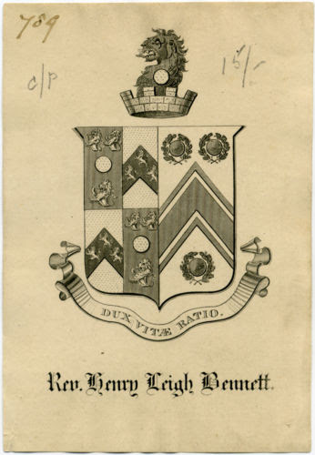 19C Armorial Bookplate of Rev. Henry Leigh Bennett