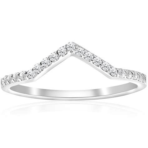 1/4ct Diamond Curved V Shape Wedding Ring Womens Stackable