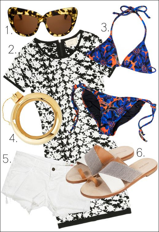Le Fashion Blog Summer Essentials For A Wedding Vacation And A Night Out Ebay Designer Collective 1. House of Harlow 1960 Chelsea Sunglasses  2. Nicole Miller Hinley Floral Knit Dress 3. Cynthia Rowley String Bikini 4. Cynthia Rowley Flask Bangle 5. Siwy Denim Camilla Shorts 6. Billy Reid Audrey Sandal photo Le-Fashion-Blog-Summer-Essentials-For-A-Wedding-Vacation-And-A-Night-Out-Ebay-Designer-Collective.jpg