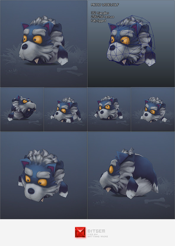 Low Poly Micro Werewolf Otis - 3DOcean Item for Sale
