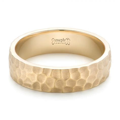 Custom Men's Hammered Yellow Gold Wedding Band #102425