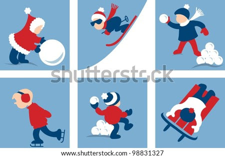 Winter Activities for Children - stock vector