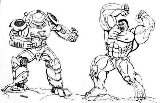 Hulk Buster Vs Hulk By Coloring Page Printable