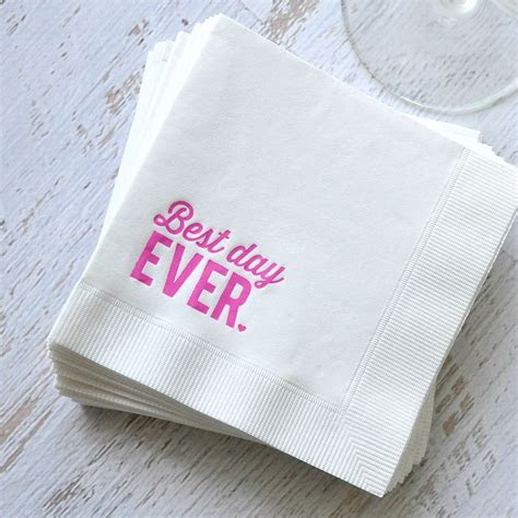 Best Day Ever Foil Cocktail Napkin   Invitations By Dawn