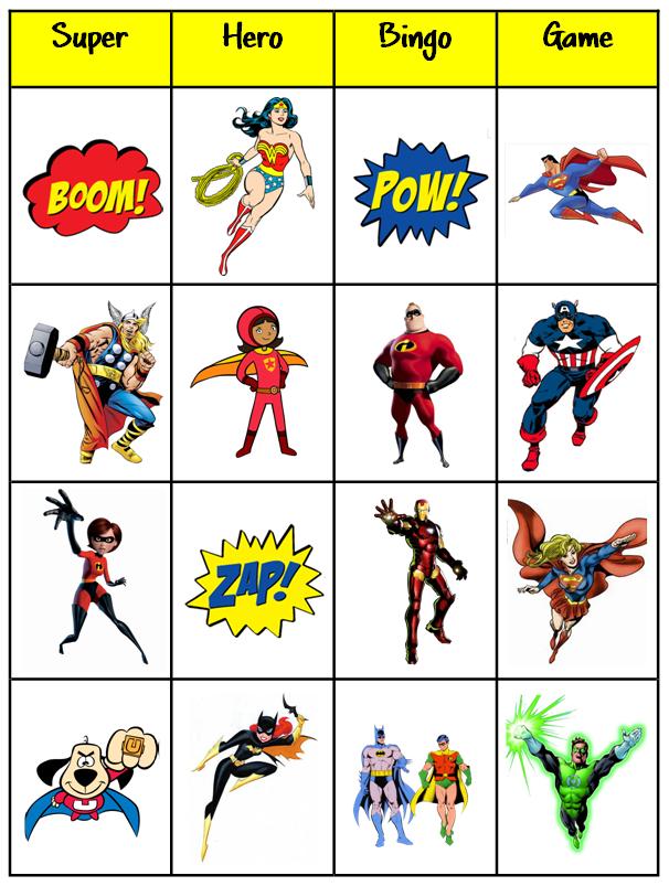 Superhero Bingo Cards Printable