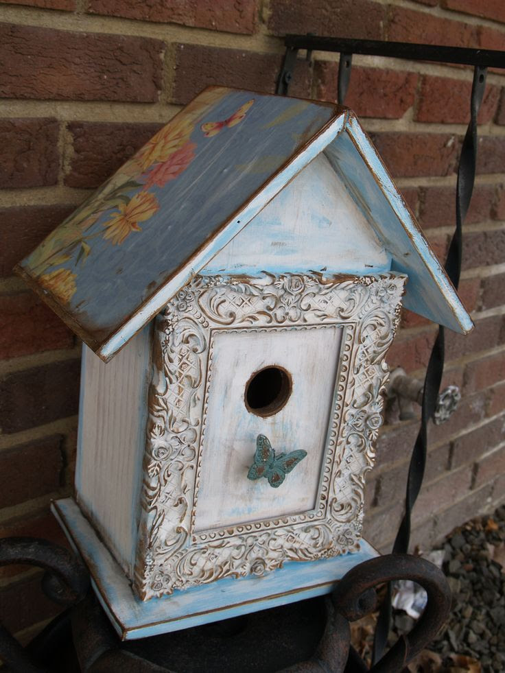 blue shabby chic bird house
