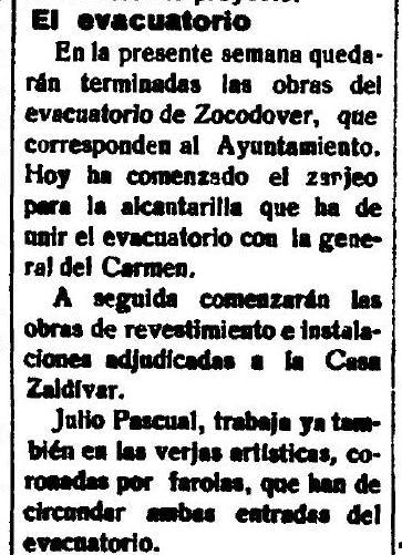 3-3-1926 El Castellano anuncia el fin de las obras de los urinarios de Zocodover