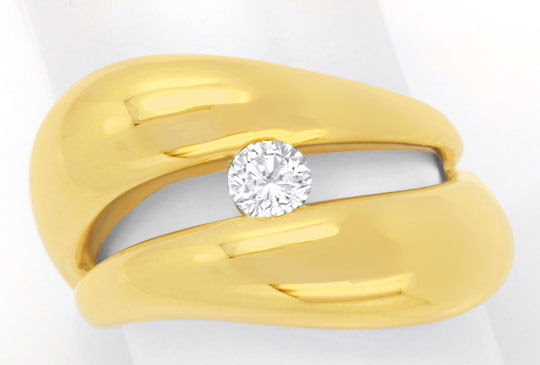 Original-Foto 2, SUPER-DESIGN BRILLANTRING GELBGOLD, 0,25ct RIVER LUXUS!