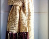 Scarf- Extra Big and Long Scarf and Shawl- Shades of Cream and Brown- Almost 10 feet long
