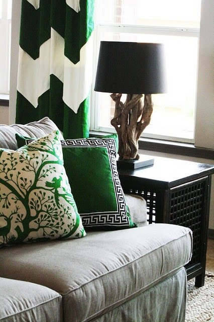 lovely emerald green pillows and window treatment