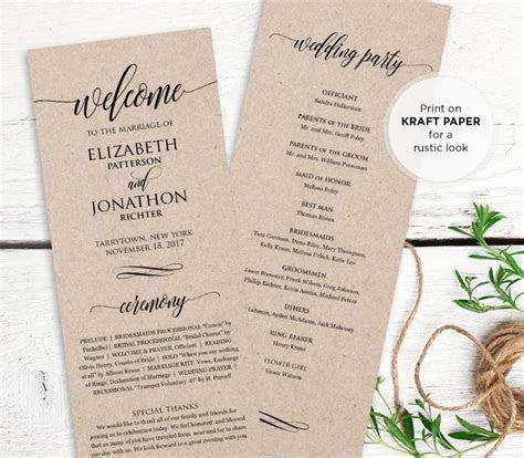 Wedding Program Printable, Order Of Service, Rustic