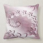 Pink Iridescent Floral Swirl Throw Pillow