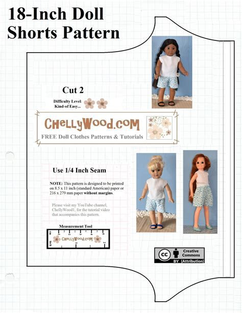 Free printable shorts #patterns for #AmericanGirl and